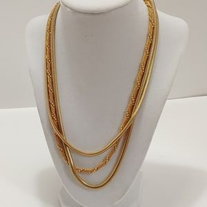 MONET 3-STRAND CHAIN NECKLACE GOLDTONE VINTAGE